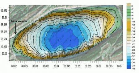 Карта озера Инголь Красноярского края, шарыповский район, максимальная глубина